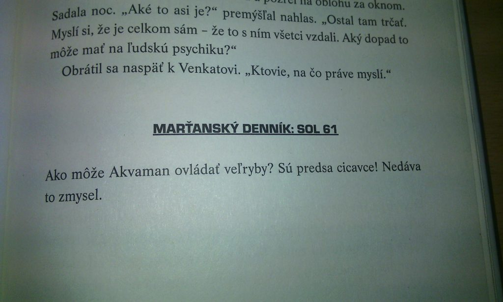Marťan andy weir ukazka text